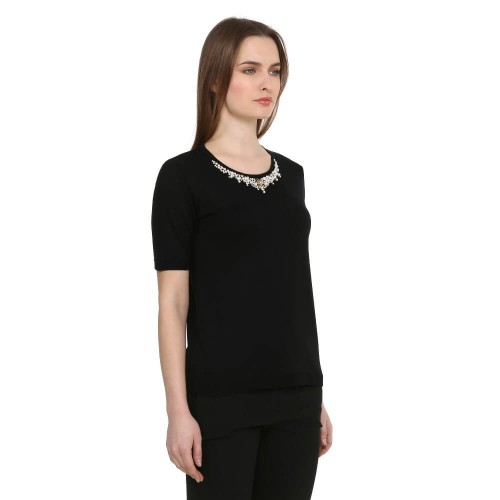 Black Swarovski High Detail Knitwear Blouse
