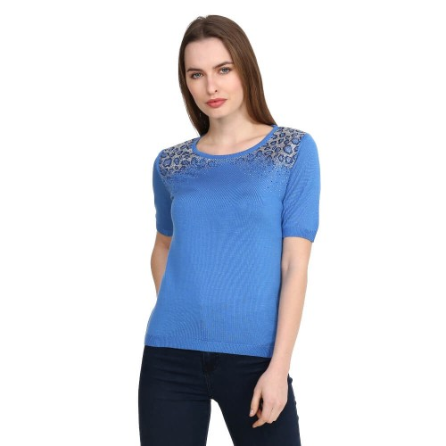 Blue Crystal Tricot Blouse