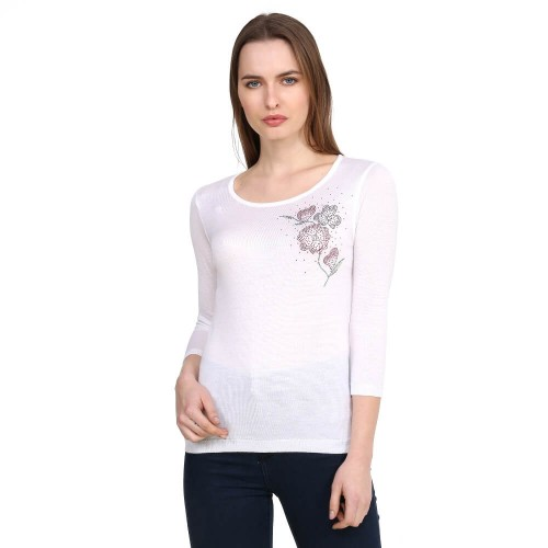 Crystal Rose Pattern Sweater Blouse - white