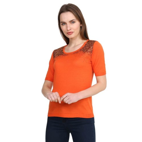 Orange Crystal Stone Tricot Blouse