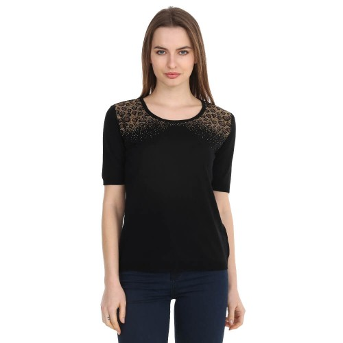 Black Crystal Tricot Blouse